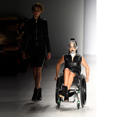 Tamara with another model on runway at New York Fashion Week