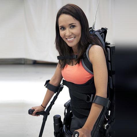 Tamara using exoskeleton to walk