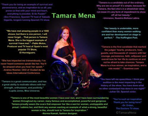 Testimonials with image of Tamara in center